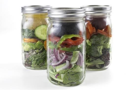 jars with salad