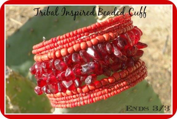 Tribal inspired beaded cuff bracelet
