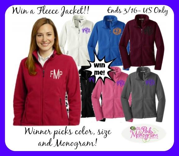pink monogram fleece jacket