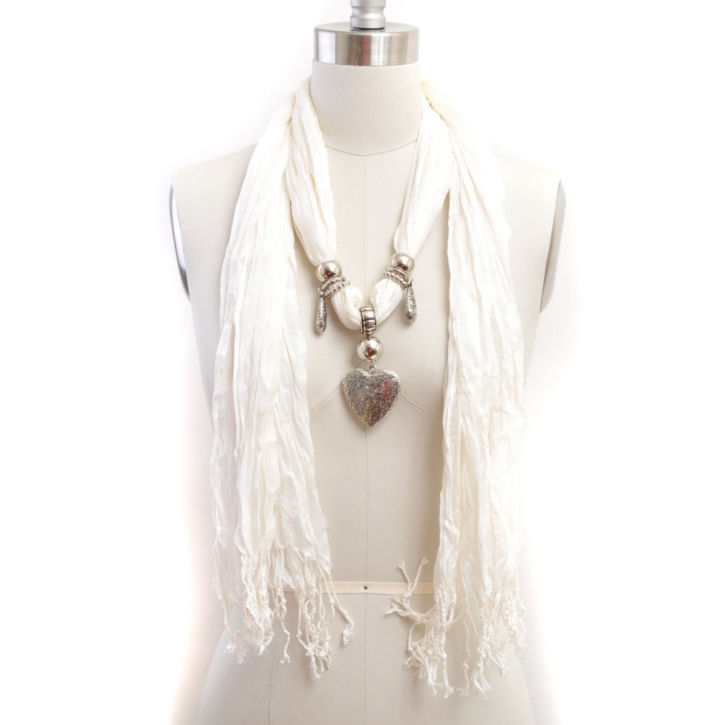 White Pashmina Scarf  with Heart Charm