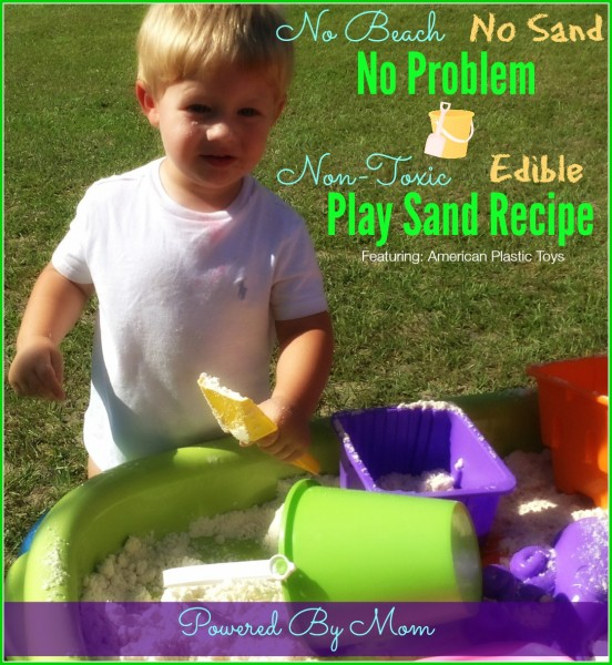 Play Sand Recipe #NonToxic & Edible for Toddlers Who Are Still Exploring by Putting Everything In Their Mouths   Flour and Vegetable Oil   American Plastic Toys #MadeInAmerica Sand Table